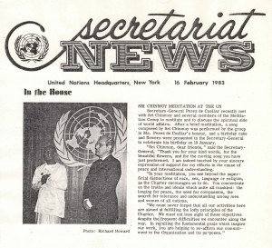 Secretariat News coverage of Secretary-General de Cuellar with Sri Chinmoy at UN feb 16 1983 issue