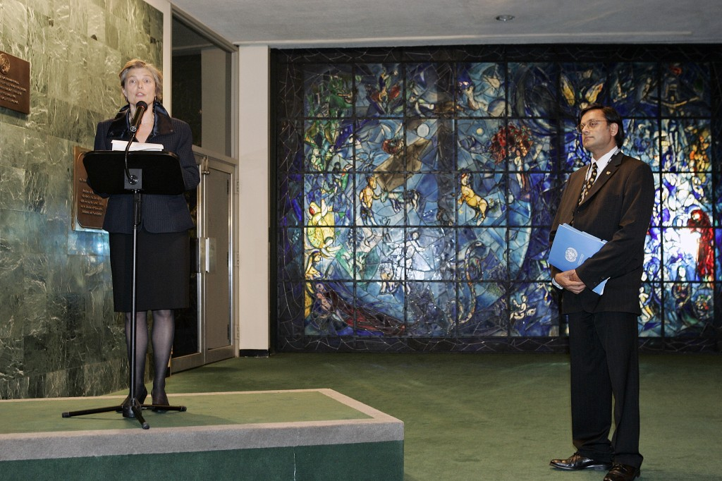 UN Photo/Mark Garten : Bella Meyer (at podium), the granddaughter of Marc Chagall, speaks at a ceremony to dedicate the completed restoration project of the Peace Window by Marc Chagall, which was installed at the United Nations in honour of Dag Hammarskjöld in 1964. On the right is Shashi Tharoor, Under-Secretary-General for Communications and Public Information. The ceremony was part of the events held today to mark the 60th anniversary of the United Nations. 24 October 2005 United Nations, New York Photo # 100046