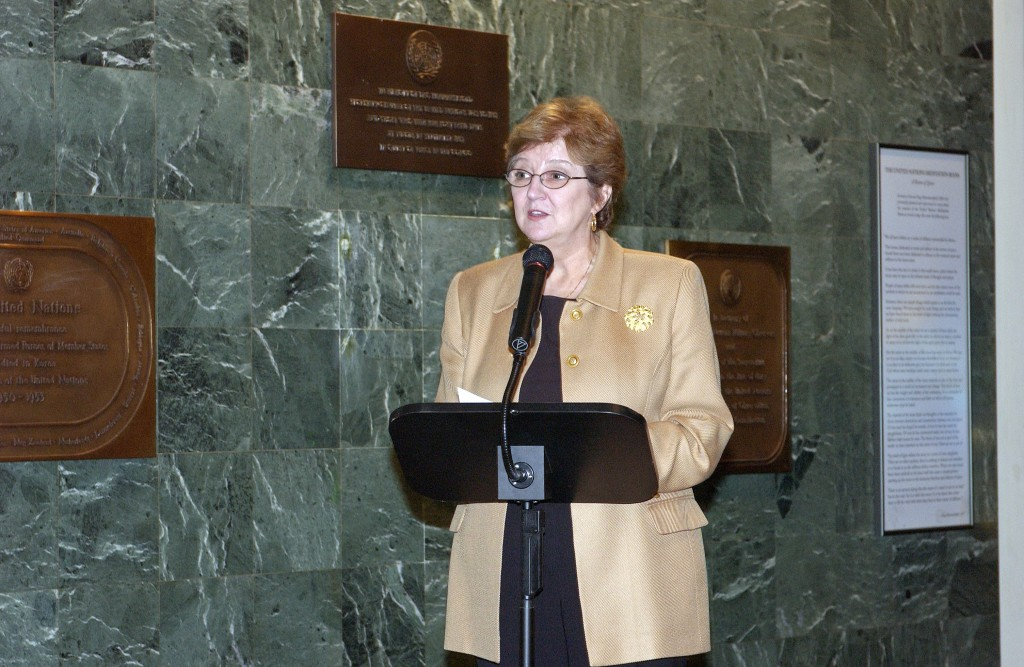 UN Photo/Paulo Filgueiras : Deputy Secretary-General Louise Fréchette speaks at the ceremony to celebrate the completion of the restoration project of the Peace Window by Marc Chagall, which was installed at the United Nations in honour of Dag Hammarskjöld in 1964. 25 October 2005 United Nations, New York Photo # 100053